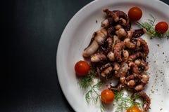 章鱼触手用西红柿和香料 库存图片