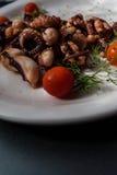 章鱼触手用西红柿和香料 免版税库存照片