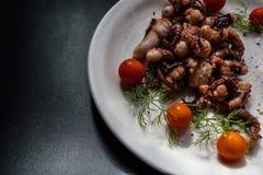 章鱼触手用西红柿和香料 免版税图库摄影