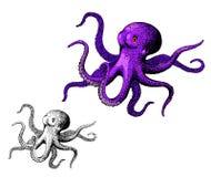 章鱼,墨水手拉的葡萄酒传染媒介 库存照片