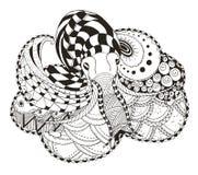 章鱼zentangle传统化了,导航,例证,徒手画的penci 库存照片