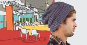 童帽的千福年的人反对手拉的办公室和白色转折 图库摄影