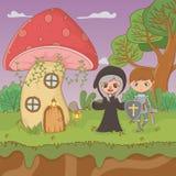 童话与巫婆和wariror的风景场面 库存例证