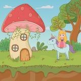 童话与真菌和公主的风景场面独角兽的 皇族释放例证