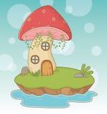 童话与真菌的风景场面 库存例证