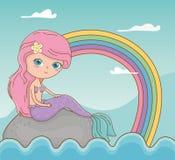 童话与美人鱼和彩虹的海景场面 库存例证