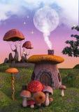 童话充分幻想土地蘑菇和蘑菇房子 免版税库存照片