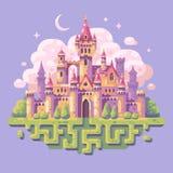 童话公主城堡平的例证 鸟幻想横向光魔术天空星期日日落 向量例证