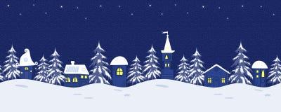 童话冬天风景 与意想不到的小屋和冷杉木的无缝的边界 向量例证