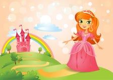 童话城堡和美丽的公主 免版税图库摄影