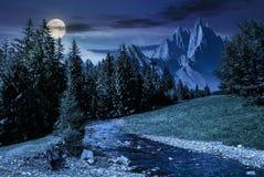 童话多山夏天风景在晚上 免版税库存照片