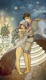 年轻童话夫妇恋人拥抱 库存图片
