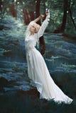 童话妇女跳舞在森林里 免版税库存图片