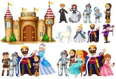 童话字符和城堡大厦 库存例证