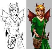 童话字符-飞过的女孩 免版税库存图片