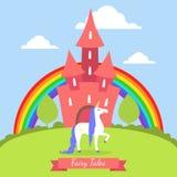 童话当中横幅模板、逗人喜爱的不可思议的城堡与彩虹和独角兽在夏天风景传染媒介例证 向量例证