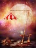 童话月亮风景 免版税库存照片