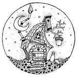 童话村庄被绘的笔 库存图片