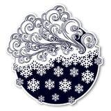童话样式冬天欢乐贴纸 与的卷曲华丽云彩落的雪花 天气预报象 圣诞节 库存图片