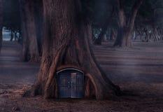 童话的树上小屋与木门 免版税库存照片