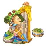 从童话的矮子弹竖琴 库存照片