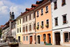 童话街市在Skofja Loka,斯洛文尼亚 免版税库存照片