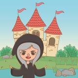 童话设计传染媒介例证中世纪巫婆动画片  向量例证