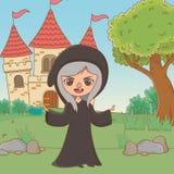 童话设计传染媒介例证中世纪巫婆动画片  库存例证