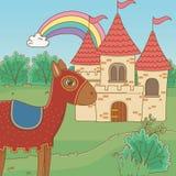童话设计传染媒介例证中世纪马和城堡  库存例证