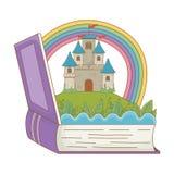 童话设计传染媒介例证书和城堡  向量例证