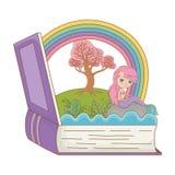 童话设计传染媒介例证书和字符  库存例证