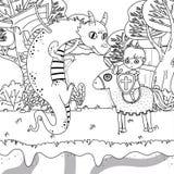 童话设计传染媒介例证的中世纪龙和骑士 库存例证