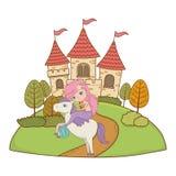童话设计传染媒介例证美人鱼和独角兽  库存例证
