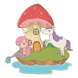 童话设计传染媒介例证美人鱼和独角兽  向量例证