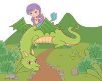 童话设计传染媒介例证美人鱼和龙  向量例证