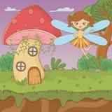 童话设计传染媒介例证蘑菇和字符  皇族释放例证
