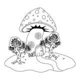 童话设计传染媒介例证蘑菇房子  向量例证