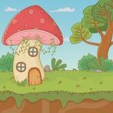 童话设计传染媒介例证蘑菇房子  库存例证