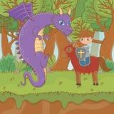 童话设计传染媒介例证骑士和龙  皇族释放例证