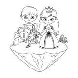 童话设计的公主和骑士 皇族释放例证