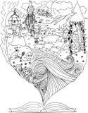 童话 在寓言世界的旅途  龙 rapunzel 黑色动画片海洋船抚摸 也corel凹道例证向量 免版税库存图片