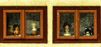 童年在窗口里 库存照片