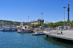 端口Vell在巴塞罗那,西班牙 库存照片