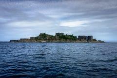 端岛在长崎附近放弃了鬼魂海岛 库存图片