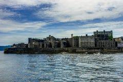 端岛在长崎附近放弃了鬼魂海岛 图库摄影