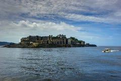 端岛在长崎附近放弃了鬼魂海岛 免版税库存照片
