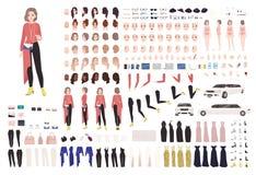 端庄的妇女动画成套工具或DIY集合 身体局部、姿态、时髦的衣裳和辅助部件的汇集 女性 皇族释放例证