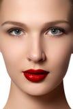 端庄的妇女纵向有红色嘴唇的 美好的年轻模型w 免版税库存图片
