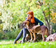 端庄的妇女获得与她的大狗的乐趣在公园 库存照片