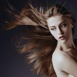 端庄的妇女画象有壮观的头发的 图库摄影
